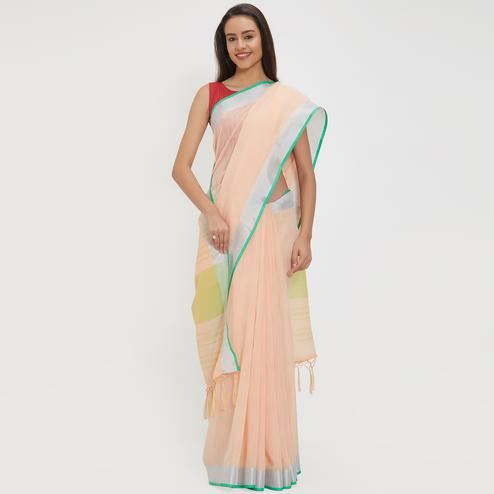 Enchanting Peach Colored Casual Wear Linen Saree With 2 Blouse Pieces