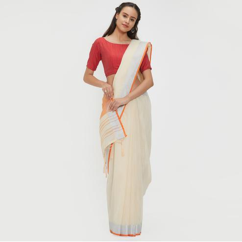 Awesome Cream Colored Casual Wear Linen Saree With 2 Blouse Pieces