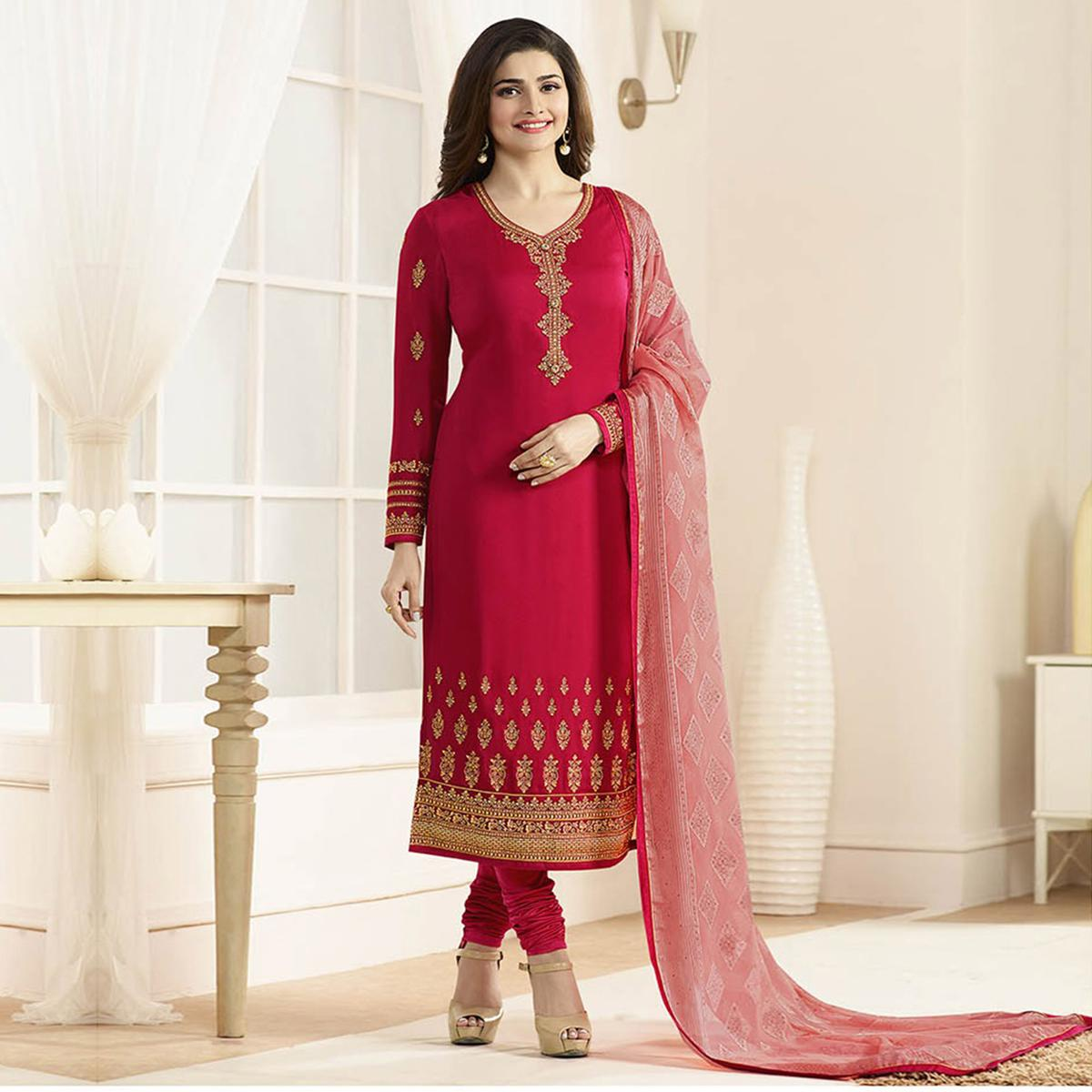 Red Festive Wear Embroidered Work Suit