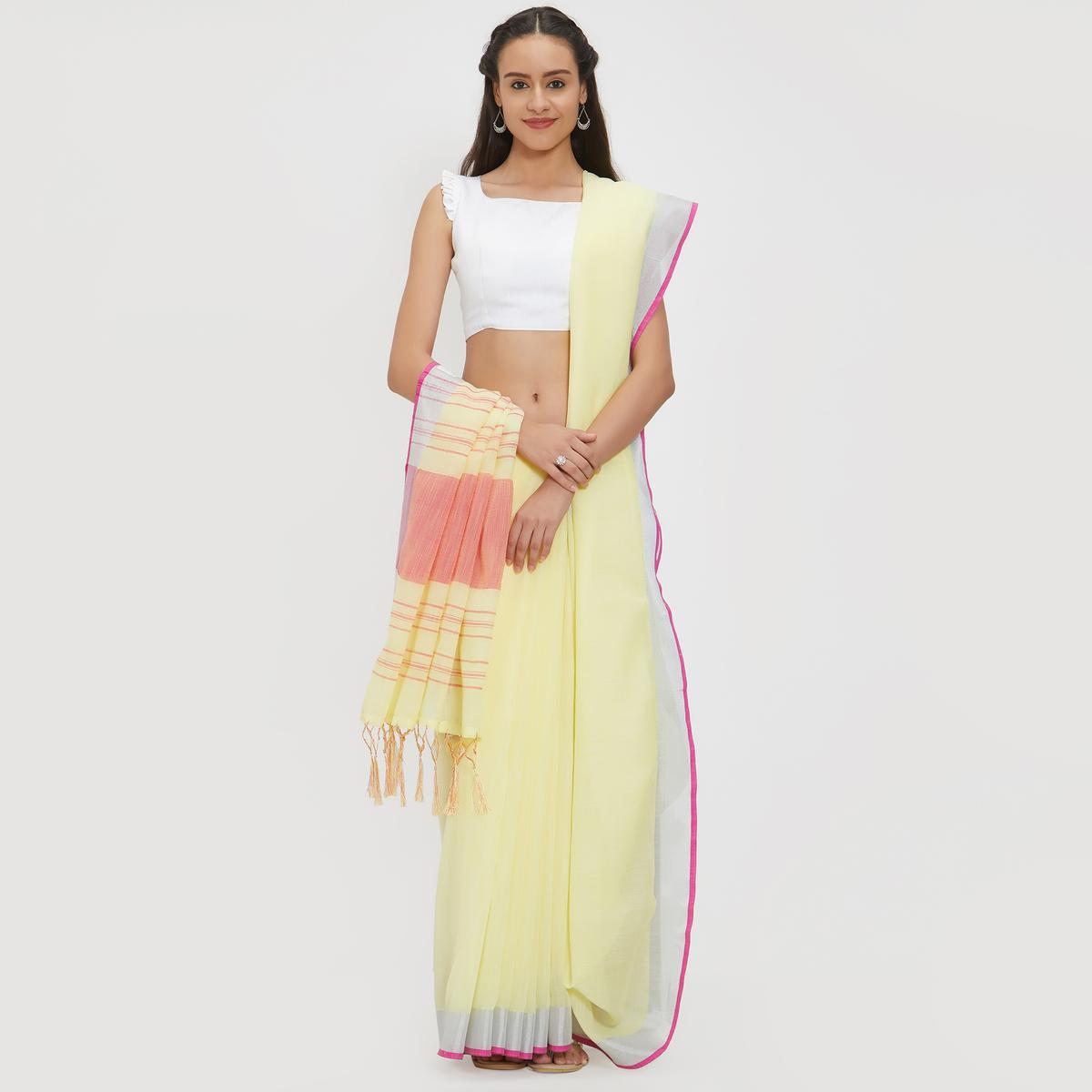 Blooming Yellow Colored Casual Wear Linen Saree With 2 Blouse Pieces
