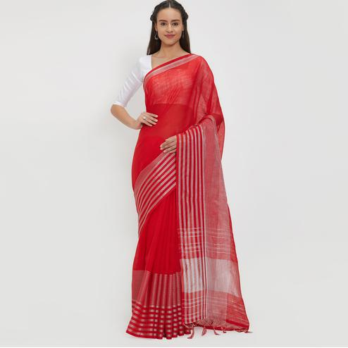 Chic Red Colored Casual Wear Linen Saree With 2 Blouse Pieces