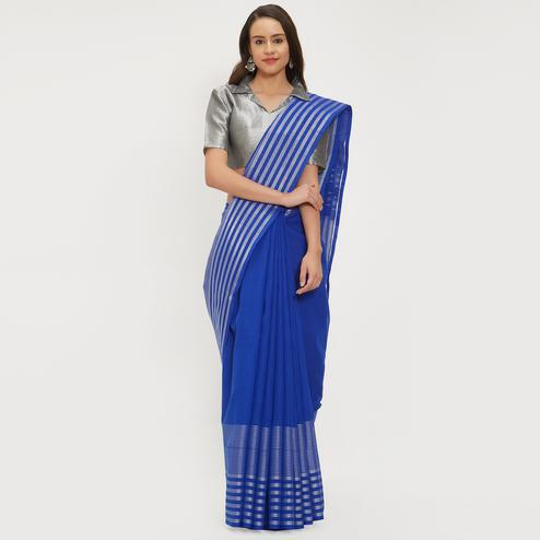 Splendid Blue Colored Casual Wear Linen Saree With 2 Blouse Pieces