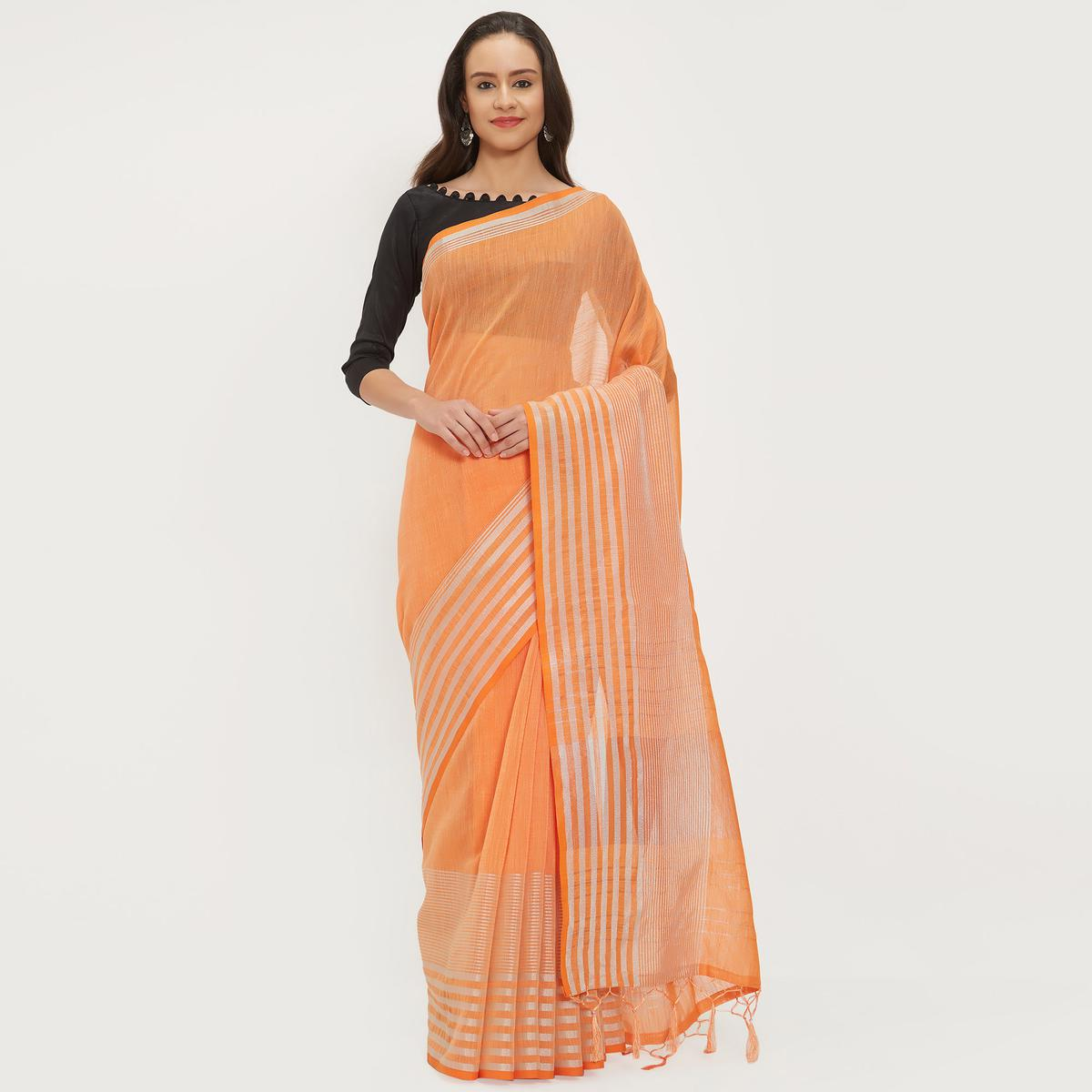Mesmeric Light Orange Colored Casual Wear Linen Saree With 2 Blouse Pieces