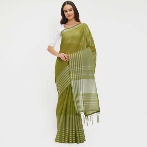 Innovative Olive Green Colored Casual Wear Linen Saree With 2 Blouse Pieces