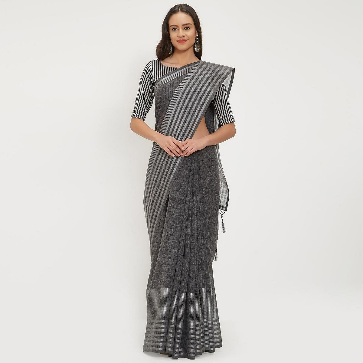 Ideal Dark Gray Colored Casual Wear Linen Saree With 2 Blouse Pieces