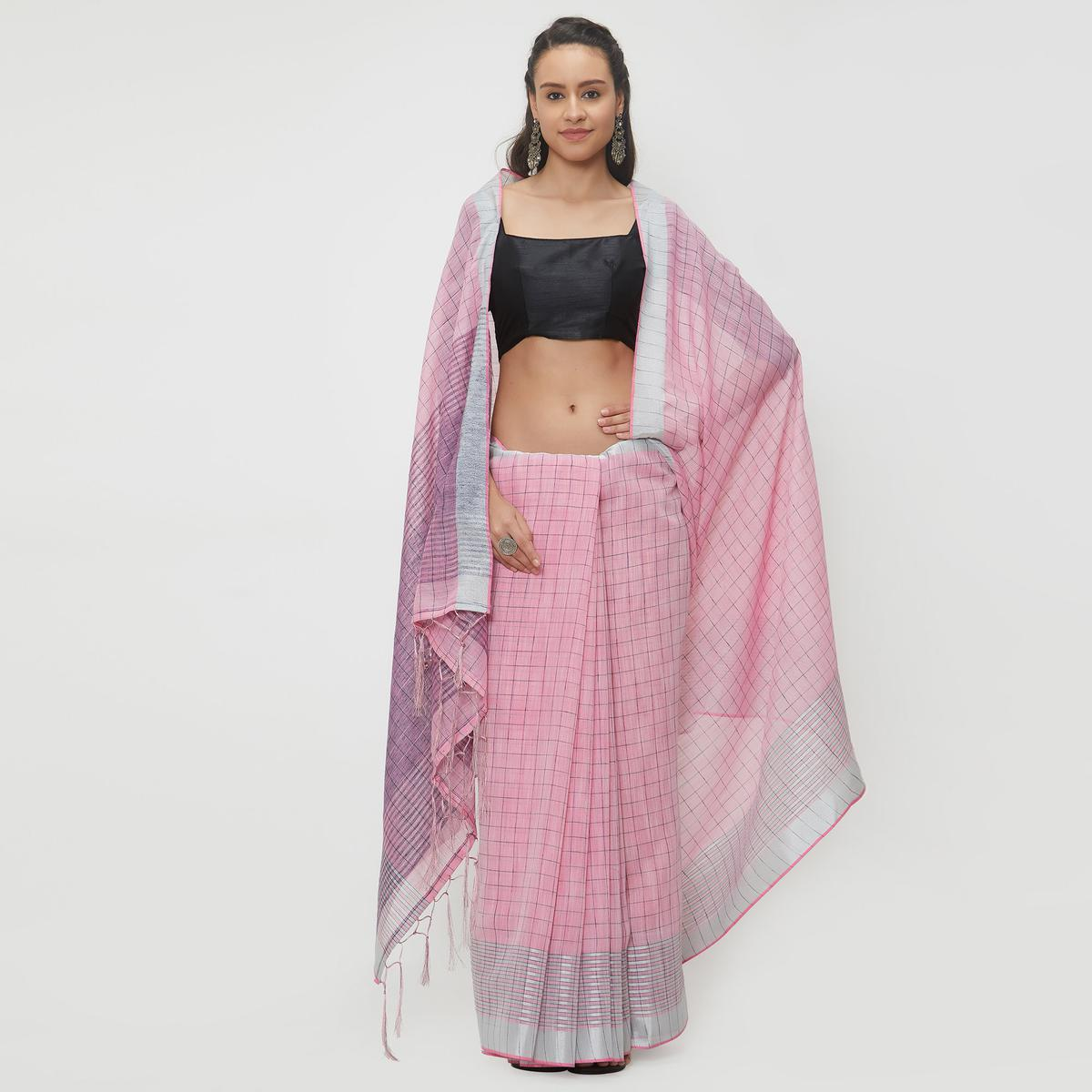 Glossy Pink Colored Casual Wear Linen Saree With 2 Blouse Pieces