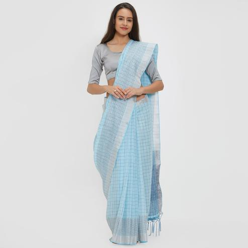 Magnificent Sky Blue Colored Casual Wear Linen Saree With 2 Blouse Pieces