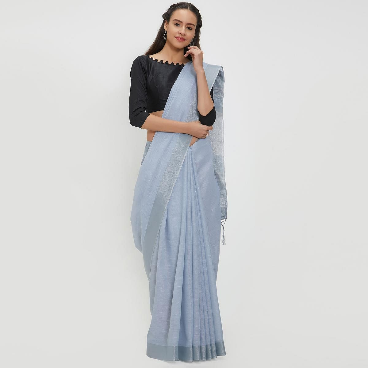 Graceful Bluish Gray Colored Casual Wear Linen Saree With 2 Blouse Pieces