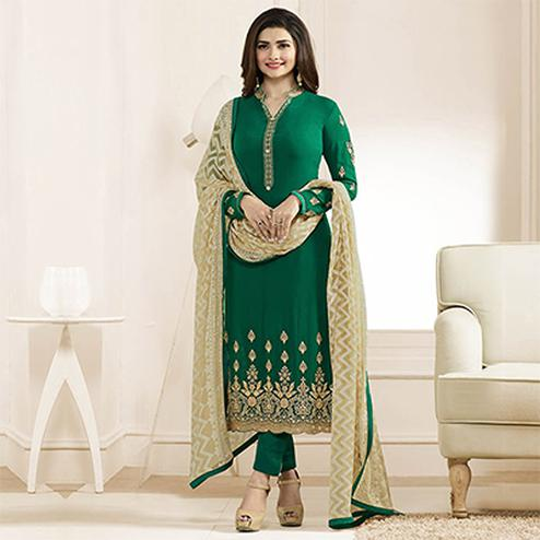 Dark Green Embroidered Work Straight Cut Suit