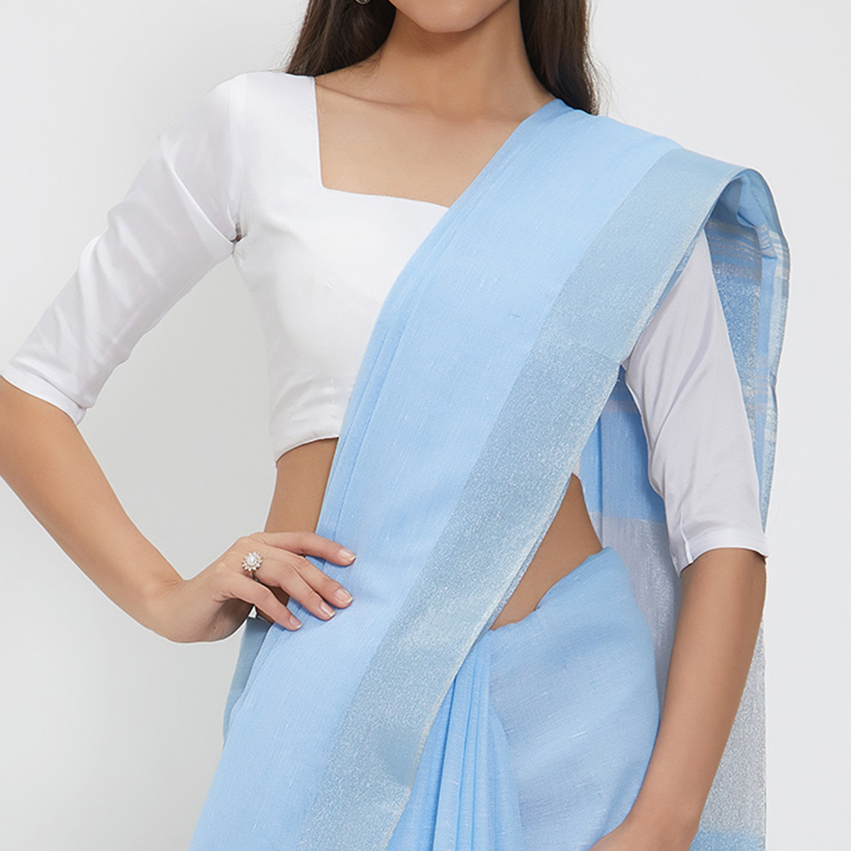 Irresistible Sky Blue Colored Casual Wear Linen Saree With 2 Blouse Pieces