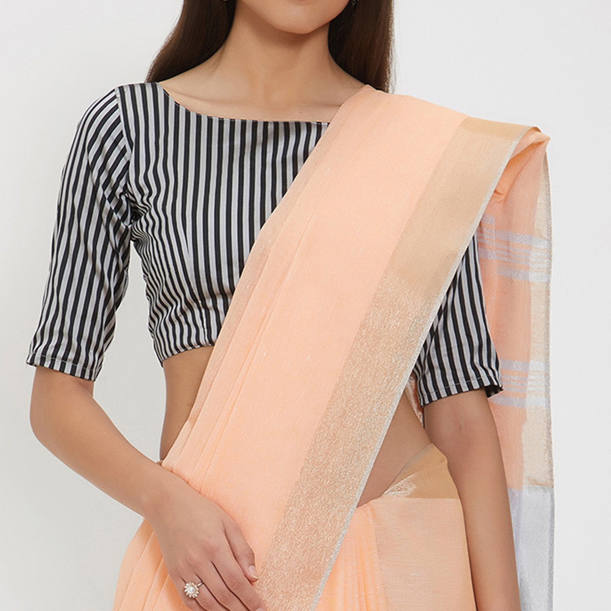 Delightful Peach Colored Casual Wear Linen Saree With 2 Blouse Pieces