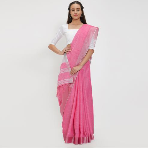 Fashionable Pink Colored Casual Wear Linen Saree With 2 Blouse Pieces