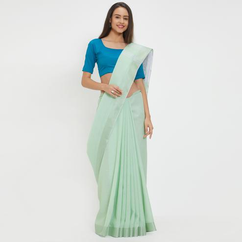 Mystical Aqua Green Colored Casual Wear Linen Saree With 2 Blouse Pieces