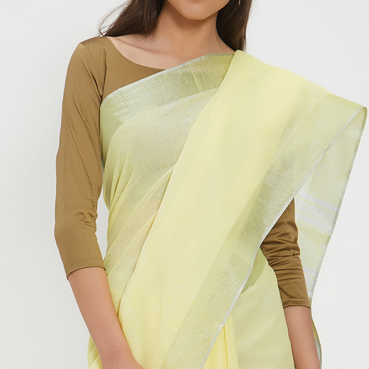 Invaluable Yellow Colored Casual Wear Linen Saree With 2 Blouse Pieces