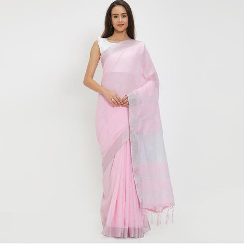 Lavish Lavender Colored Casual Wear Linen Saree With 2 Blouse Pieces