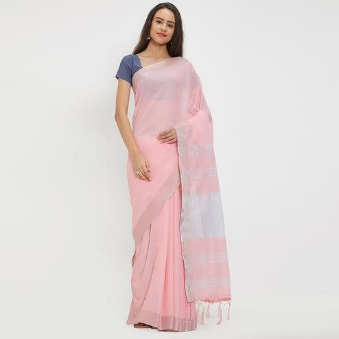 Entrancing Pink Colored Casual Wear Linen Saree With 2 Blouse Pieces