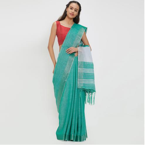 Staggering Turquoise Green Colored Casual Wear Linen Saree With 2 Blouse Pieces