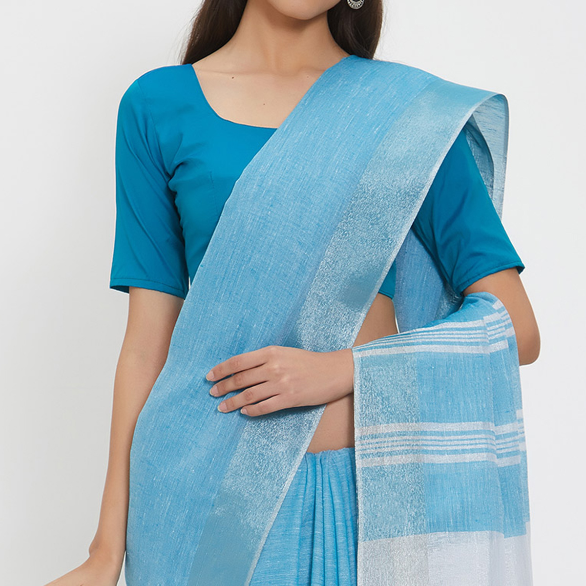 Glamorous Blue Colored Casual Wear Linen Saree With 2 Blouse Pieces