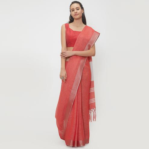 Gratifying Red Colored Casual Wear Linen Saree With 2 Blouse Pieces