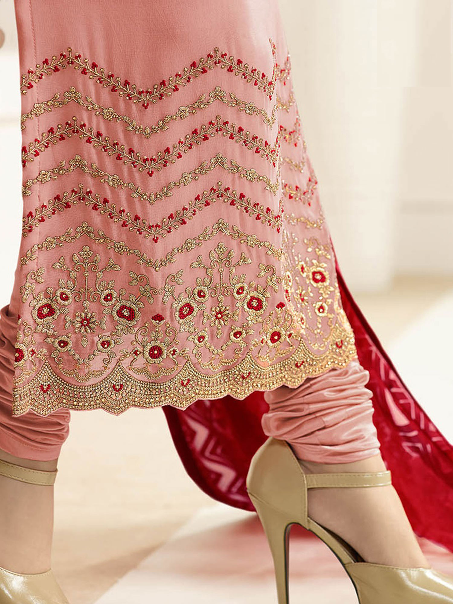 Pink Party Wear Embroidered Work Georgette Suit