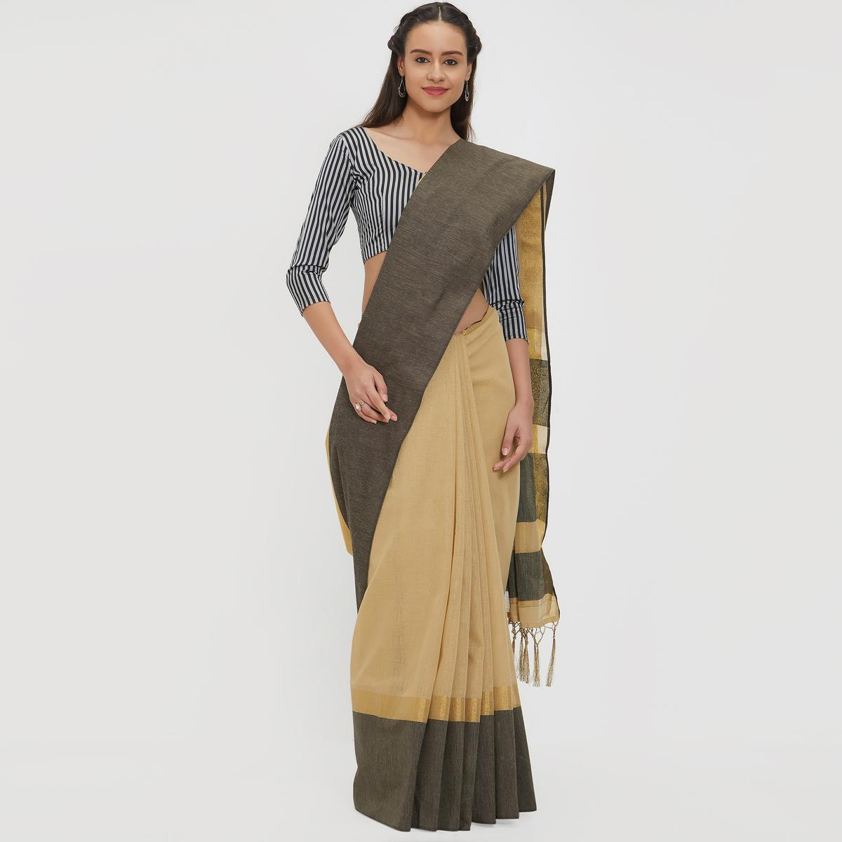 Classical Beige Colored Casual Wear Linen Saree With 2 Blouse Pieces