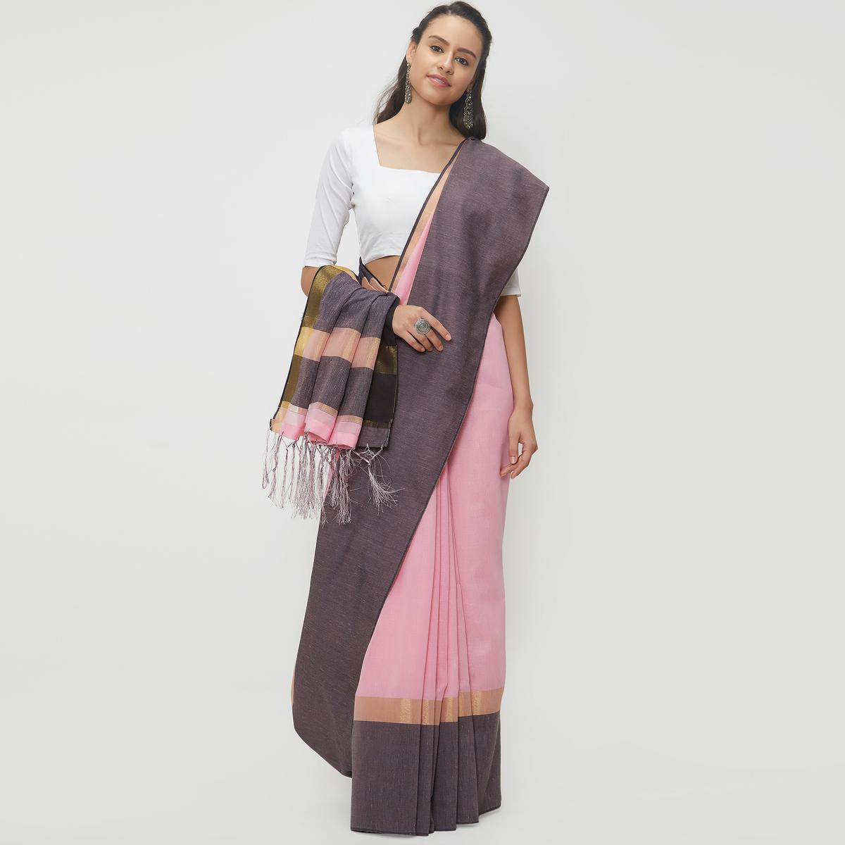 Adorable Pink Colored Casual Wear Linen Saree With 2 Blouse Pieces