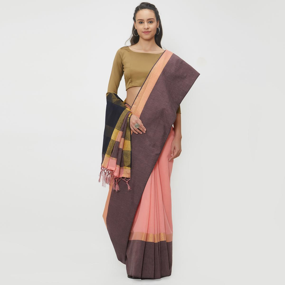 Gripping Peach Colored Casual Wear Linen Saree With 2 Blouse Pieces
