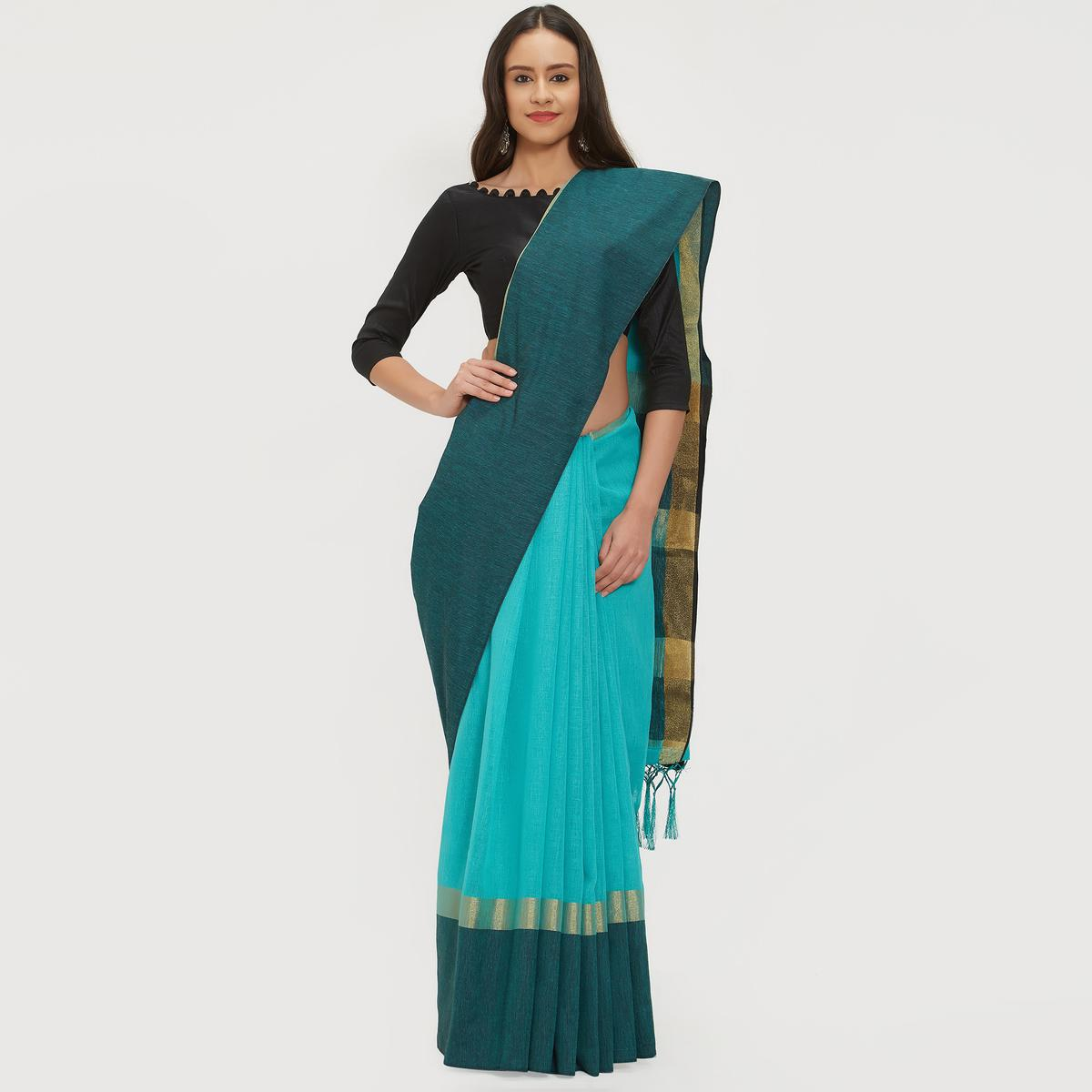 Integral Sky Blue Colored Casual Wear Linen Saree With 2 Blouse Pieces