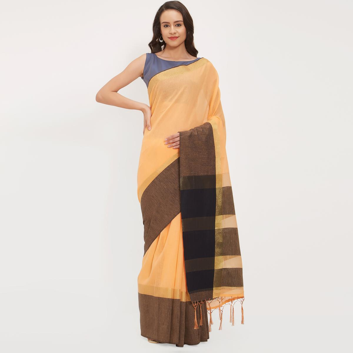 Blissful Light Orange Colored Casual Wear Linen Saree With 2 Blouse Pieces