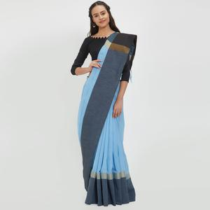 Ethnic Sky Blue Colored Casual Wear Linen Saree With 2 Blouse Pieces