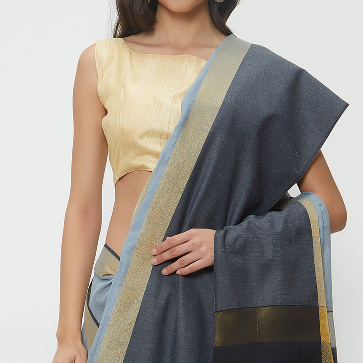 Lively Gray Colored Casual Wear Linen Saree With 2 Blouse Pieces