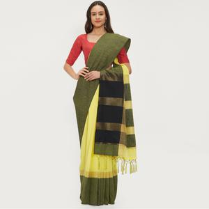 Enchanting Yellow Colored Casual Wear Linen Saree With 2 Blouse Pieces