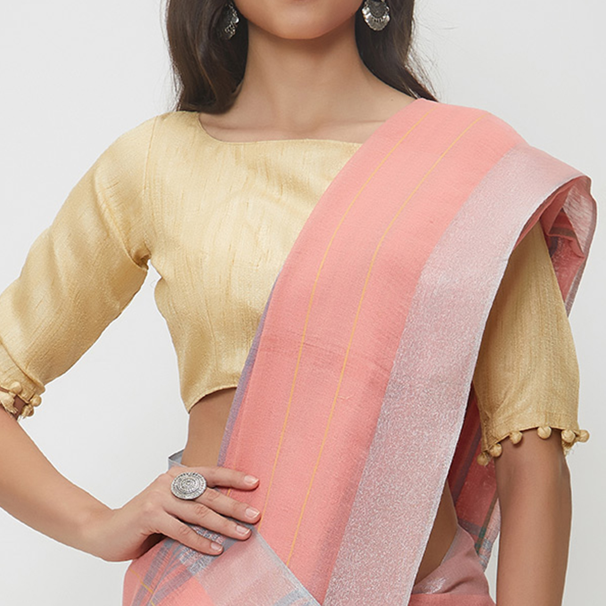 Amusing Peach Colored Casual Wear Linen Saree With 2 Blouse Pieces