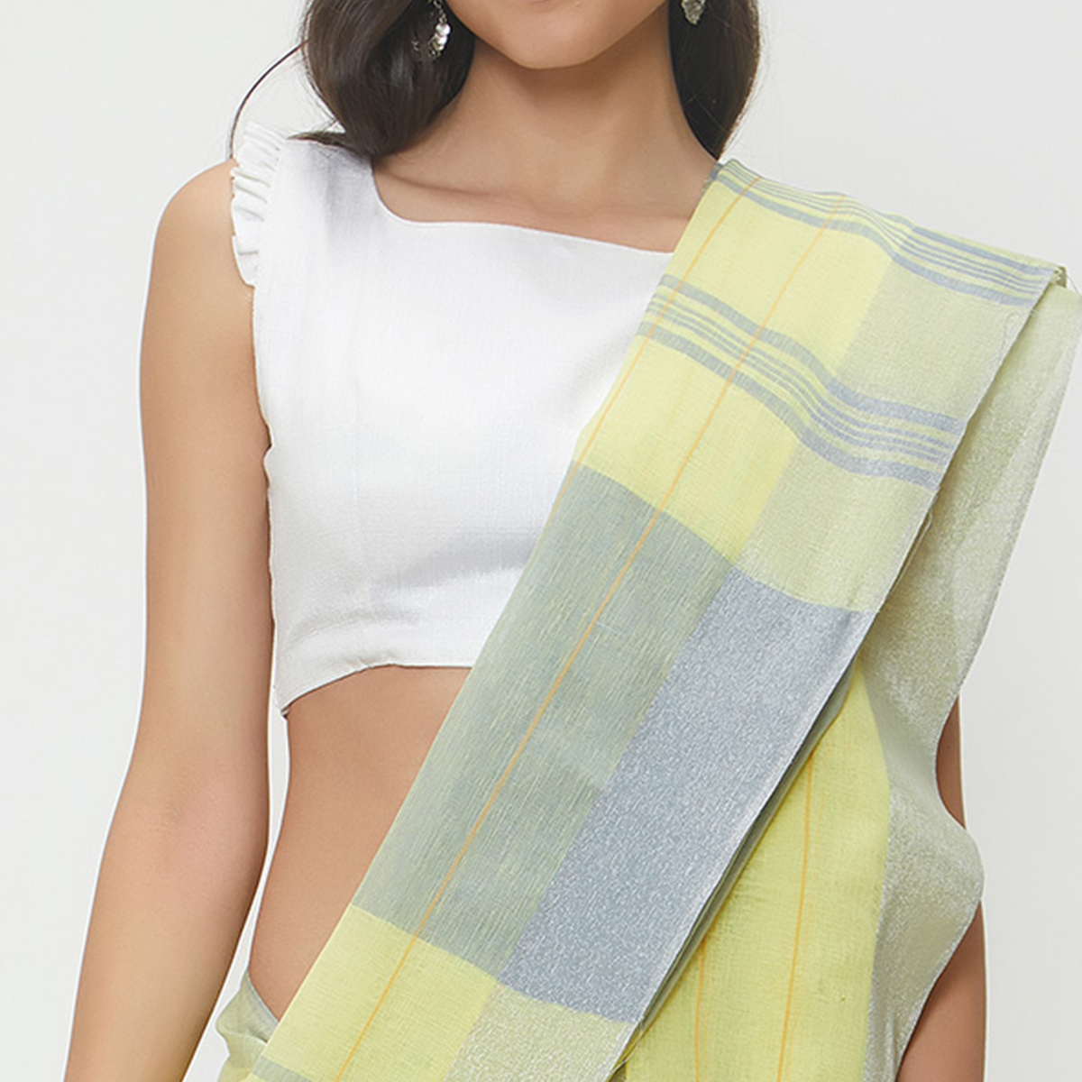 Fine Lemon Yellow Colored Casual Wear Linen Saree With 2 Blouse Pieces