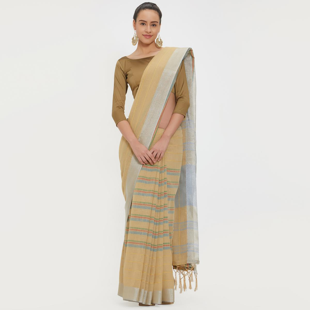 Exceptional Beige Colored Casual Wear Linen Saree With 2 Blouse Pieces