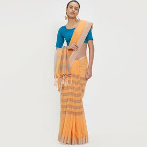 Catchy Orange Colored Casual Wear Linen Saree With 2 Blouse Pieces
