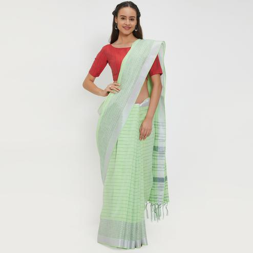 Sunshine Mint Green Colored Casual Wear Linen Saree With 2 Blouse Pieces