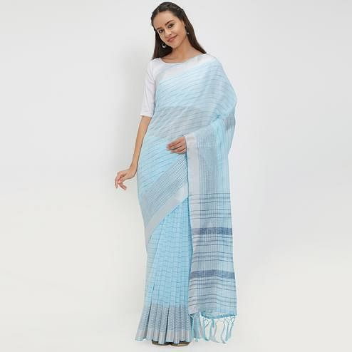 Tempting Sky Blue Colored Casual Wear Linen Saree With 2 Blouse Pieces