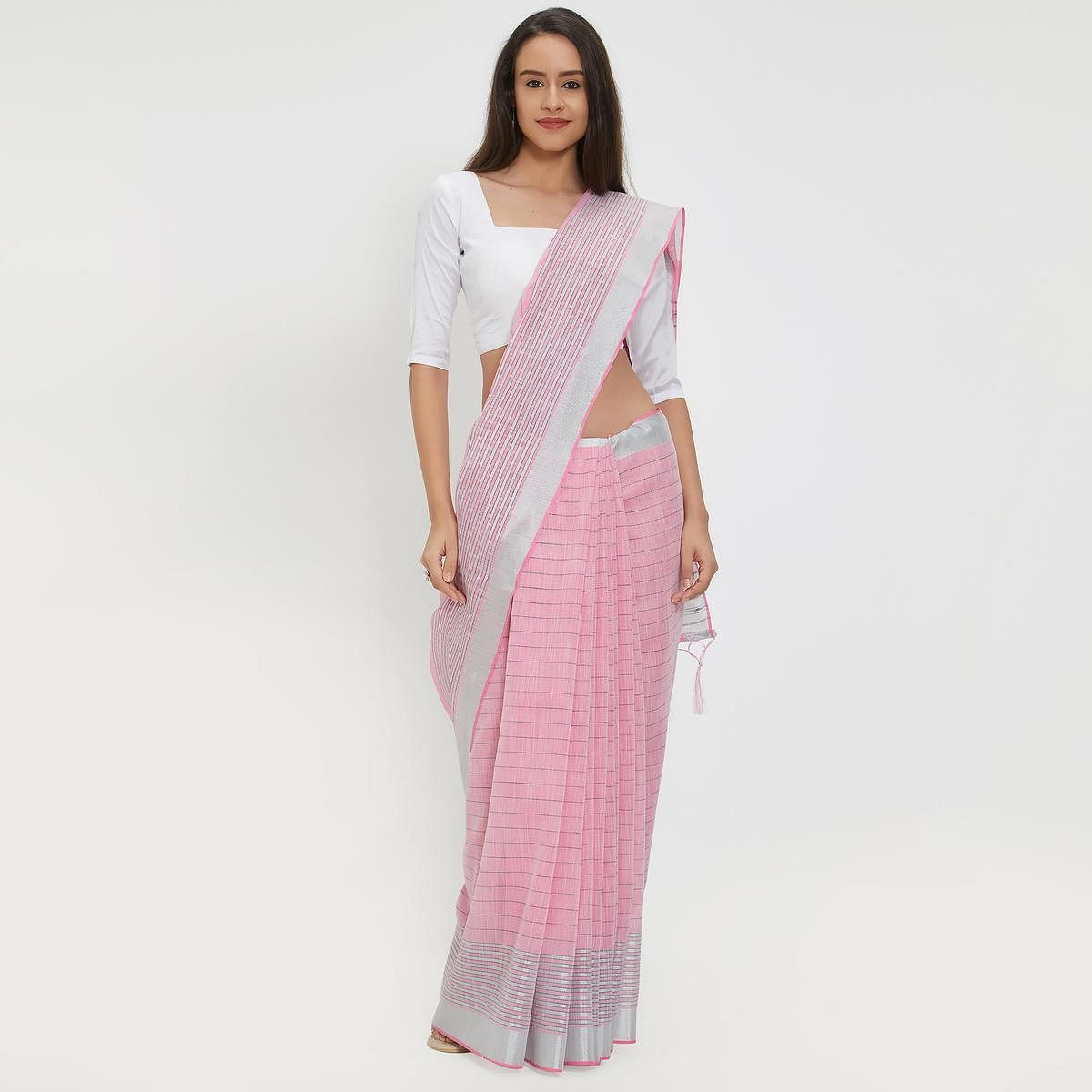 Dashing Pink Colored Casual Wear Linen Saree With 2 Blouse Pieces