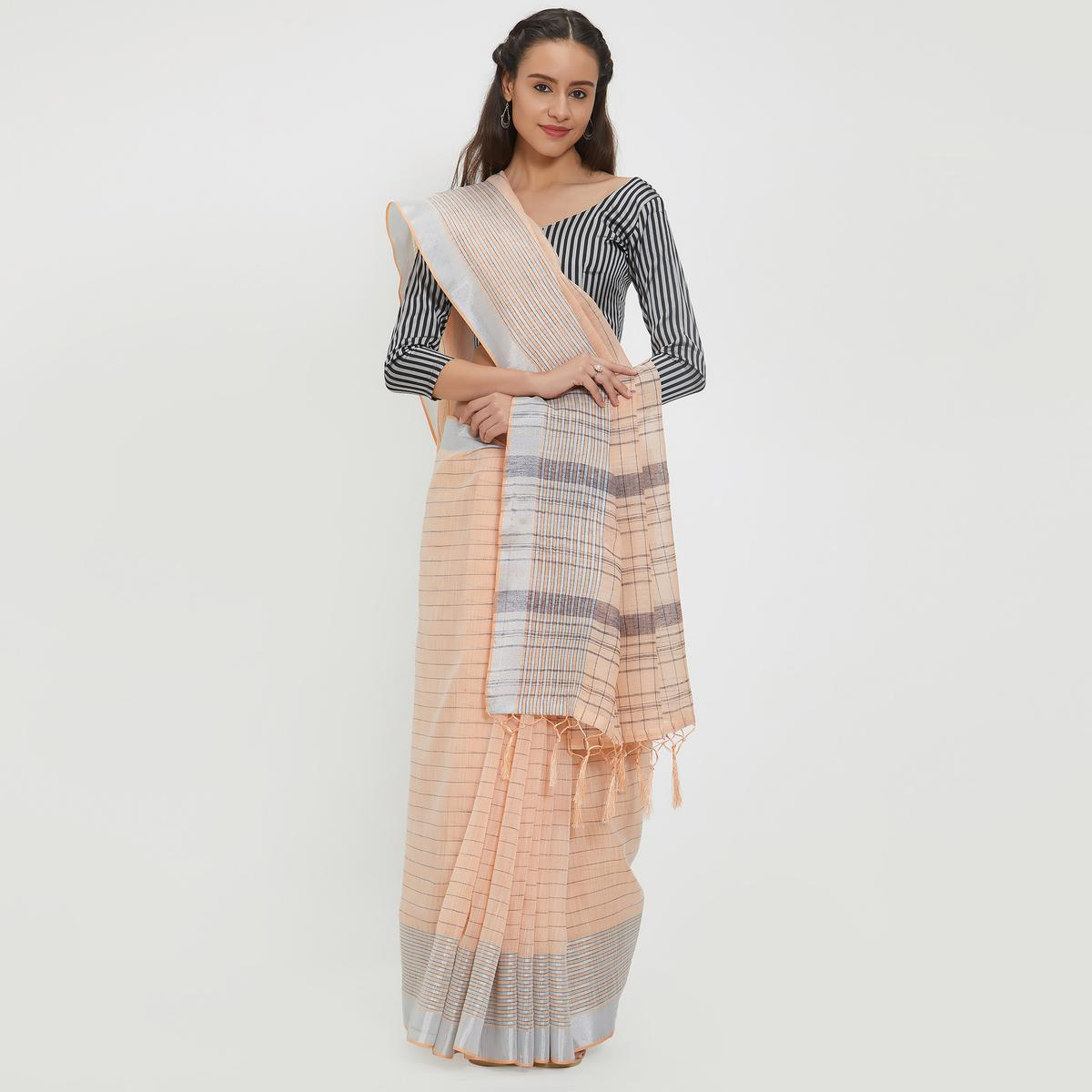 Pretty Peach Colored Casual Wear Linen Saree With 2 Blouse Pieces