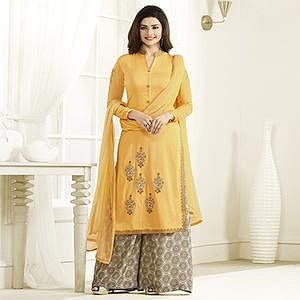Adorable Yellow Georgette Palazzo Suit