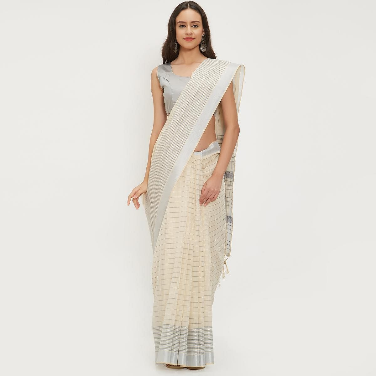 Absorbing Off-White Colored Casual Wear Linen Saree With 2 Blouse Pieces