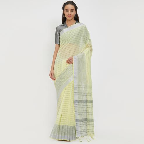 Fab Pastel Yellow Colored Casual Wear Linen Saree With 2 Blouse Pieces