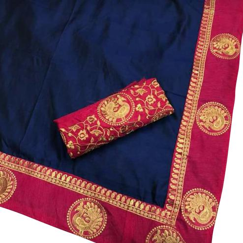 Splendid Navy Blue Colored Festive Wear Art Silk Saree
