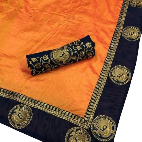 Classy Orange Colored Festive Wear Art Silk Saree