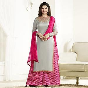Classy Grey Georgette Palazzo Suit
