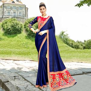 Charming Navy Blue Colored Party Wear Embroidered Satin Silk Saree