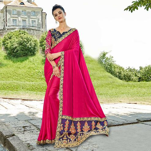 Delightful Dark Pink Colored Party Wear Embroidered Satin Silk Saree