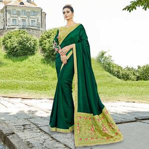 Stunning Pine Green Colored Party Wear Embroidered Satin Silk Saree