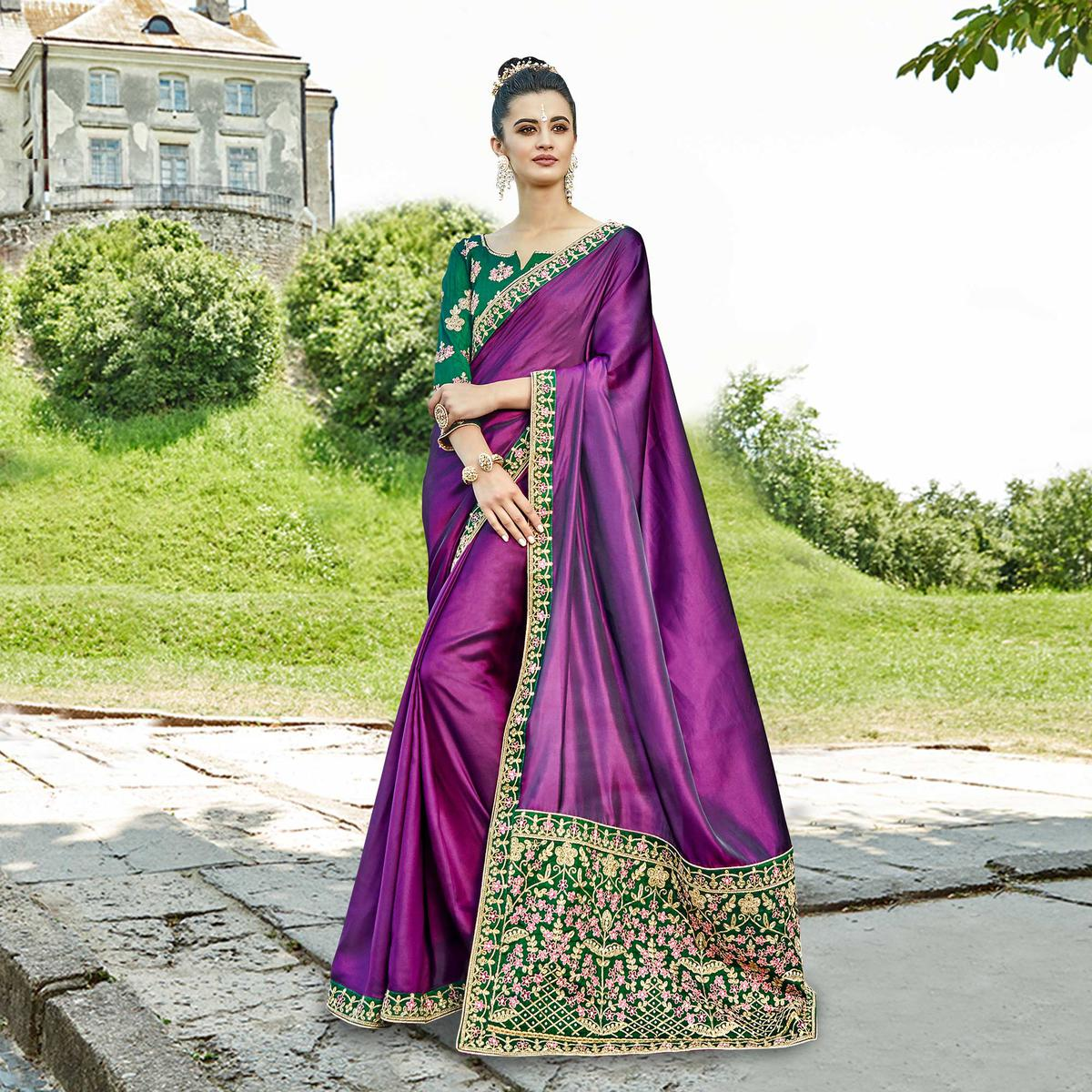 Blooming Purple Colored Party Wear Embroidered Silk Saree